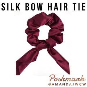 Silk Bow Hair Tie Scrunchie - Red / Maroon / Wine